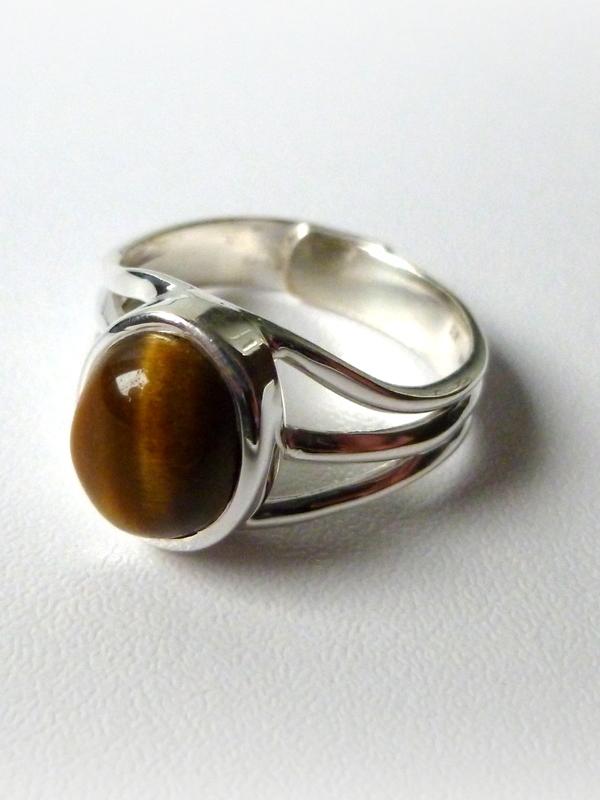 Verstelbare ring Tijgeroog in 925/1000 zilver