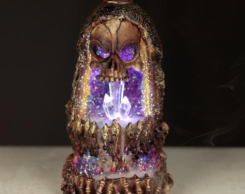 Schedel Kristal Grot LED Backflow Wierook brander