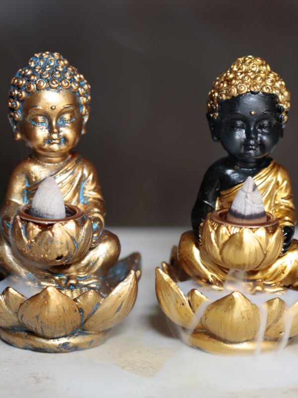Buddha en Lotus Backflow Wierook brander 01